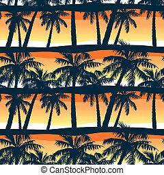 Tropical palms trees at sunset in a seamless pattern .