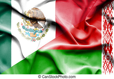Waving flag of Belarus and Mexico