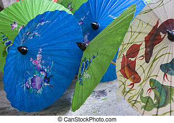 Chiang Mai umbrellas - Green, blue and white paper umbrellas...