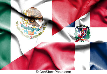 Waving flag of Dominican Republic and Mexico