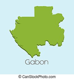 3D map on blue water background of Gabon - A 3D map on blue...