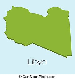 3D map on blue water background of Libya - A 3D map on blue...