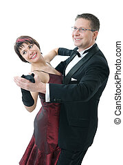 couple dancing - Attractive couple dancing isolated over...