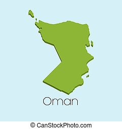3D map on blue water background of Oman - A 3D map on blue...