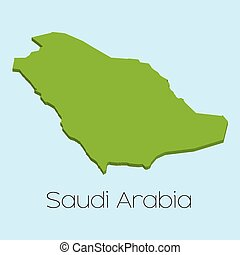 3D map on blue water background of Saudi Arabia - A 3D map...