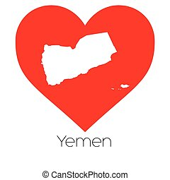 Heart illustration with the shape of Yemen - A Heart...
