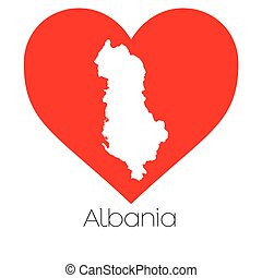 Heart illustration with the shape of Albania - A Heart...