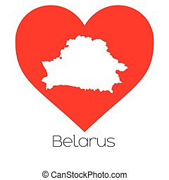 Heart illustration with the shape of Belarus - A Heart...