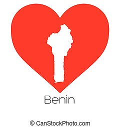 Heart illustration with the shape of Benin - A Heart...