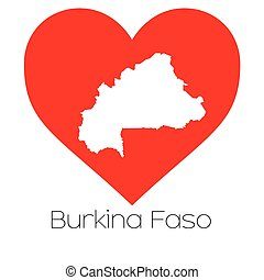 Heart illustration with the shape of Burkina Faso - A Heart...
