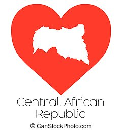 Heart illustration with the shape of Central African...