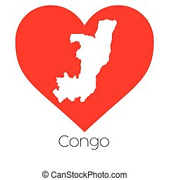 Heart illustration with the shape of Congo - A Heart...
