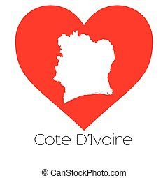Heart illustration with the shape of Cote Divoire - A Heart...