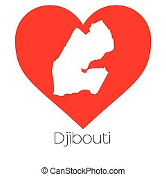 Heart illustration with the shape of Djibouti - A Heart...