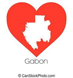 Heart illustration with the shape of Gabon - A Heart...