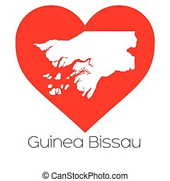 Heart illustration with the shape of Guinea Bissau - A Heart...