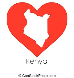 Heart illustration with the shape of Kenya