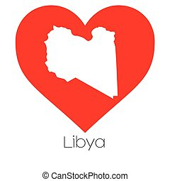 Heart illustration with the shape of Libya - A Heart...
