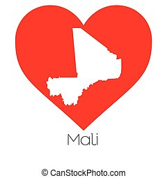 Heart illustration with the shape of Mali - A Heart...