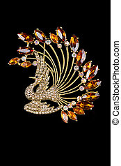 brooch in the form of a bird with gems