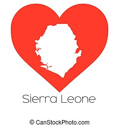 Heart illustration with the shape of Sierra Leone - A Heart...