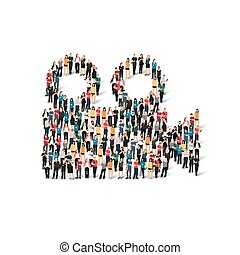 people form camera video - A large group of people in the...