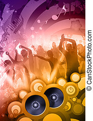 disco dj - Colorful composition of a sound party at the...
