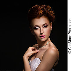 Portrait of a beautiful ginger bride - Portrait of a...