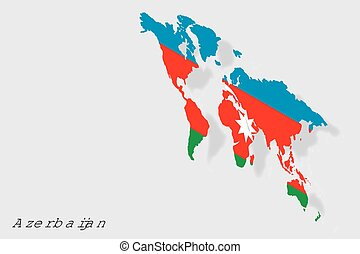 3D Isometric Flag Illustration of the country of Azerbaijan...