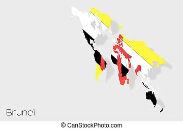 3D Isometric Flag Illustration of the country of Brunei - A...