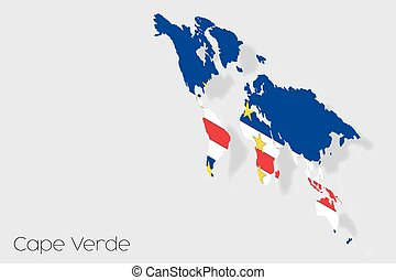 3D Isometric Flag Illustration of the country of  Cape Verde