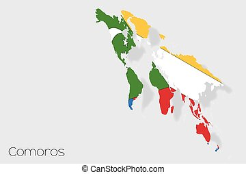 3D Isometric Flag Illustration of the country of Comoros - A...