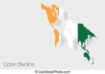 3D Isometric Flag Illustration of the country of Cote...