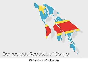 3D Isometric Flag Illustration of the country of  Democratic Republic of Congo