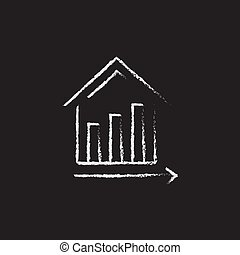 Graph of real estate prices growth icon drawn in chalk. -...