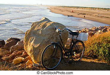 Bicycle on the beach - The Bicycle on the beach of Atlantic...