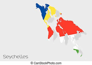 3D Isometric Flag Illustration of the country of Seychelles...