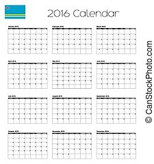 2016 Calendar with the Flag of Aruba - A 2016 Calendar with...