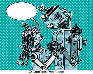 couple robots man woman love retro style pop art