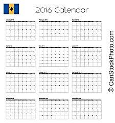 2016 Calendar with the Flag of Barbados - A 2016 Calendar...