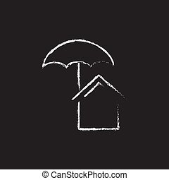 House insurance icon drawn in chalk - House insurance hand...