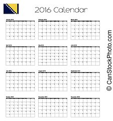 2016 Calendar with the Flag of Bosnia - A 2016 Calendar with...