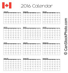2016 Calendar with the Flag of Canada - A 2016 Calendar with...