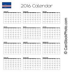 2016 Calendar with the Flag of Cape Verde - A 2016 Calendar...