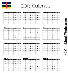 2016 Calendar with the Flag of Central African Republic - A...