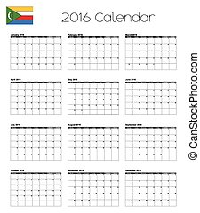 2016 Calendar with the Flag of Comoros - A 2016 Calendar...