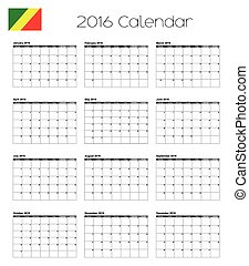 2016 Calendar with the Flag of Congo - A 2016 Calendar with...