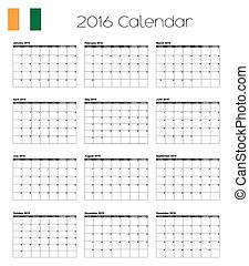2016 Calendar with the Flag of Cote DIvoire - A 2016...
