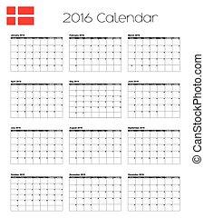 2016 Calendar with the Flag of Denmark - A 2016 Calendar...