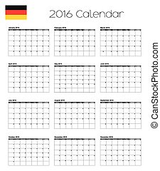 2016 Calendar with the Flag of Germany
